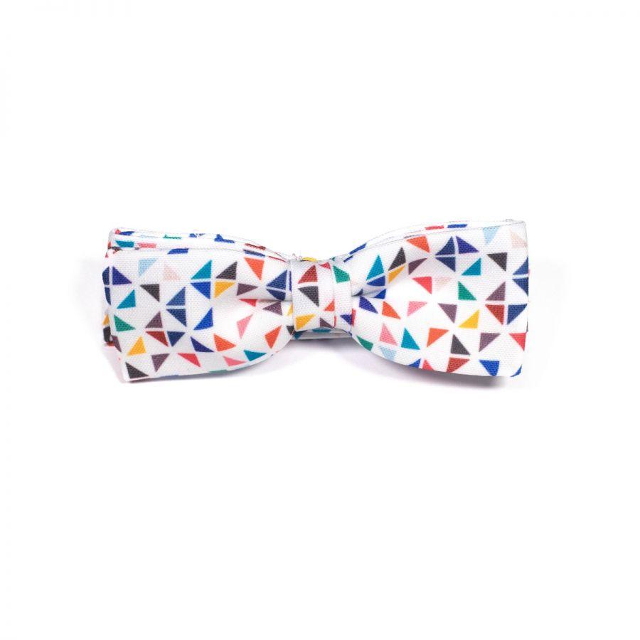 White 3angle Unisex Bow Tie